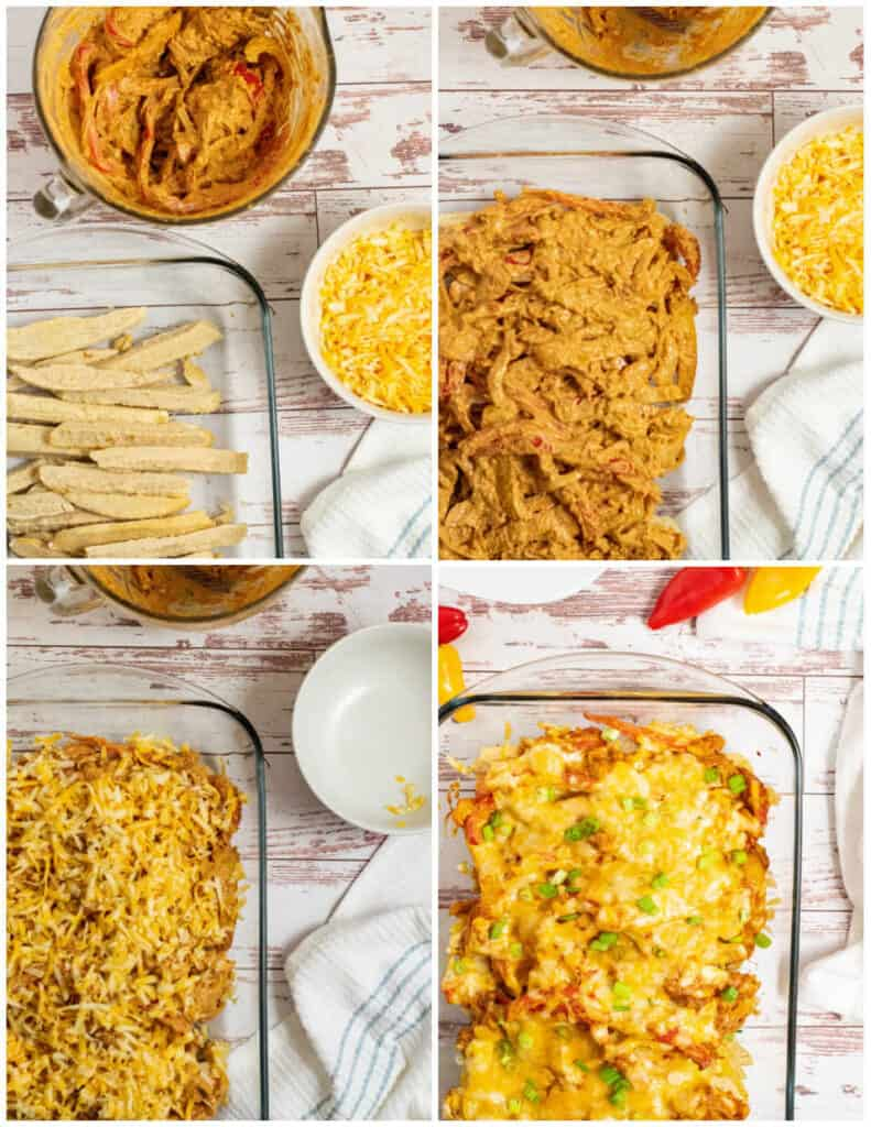 a collage of assembling a fajita casserole. A glass pan with layers of chicken, peppers and onions and cheese