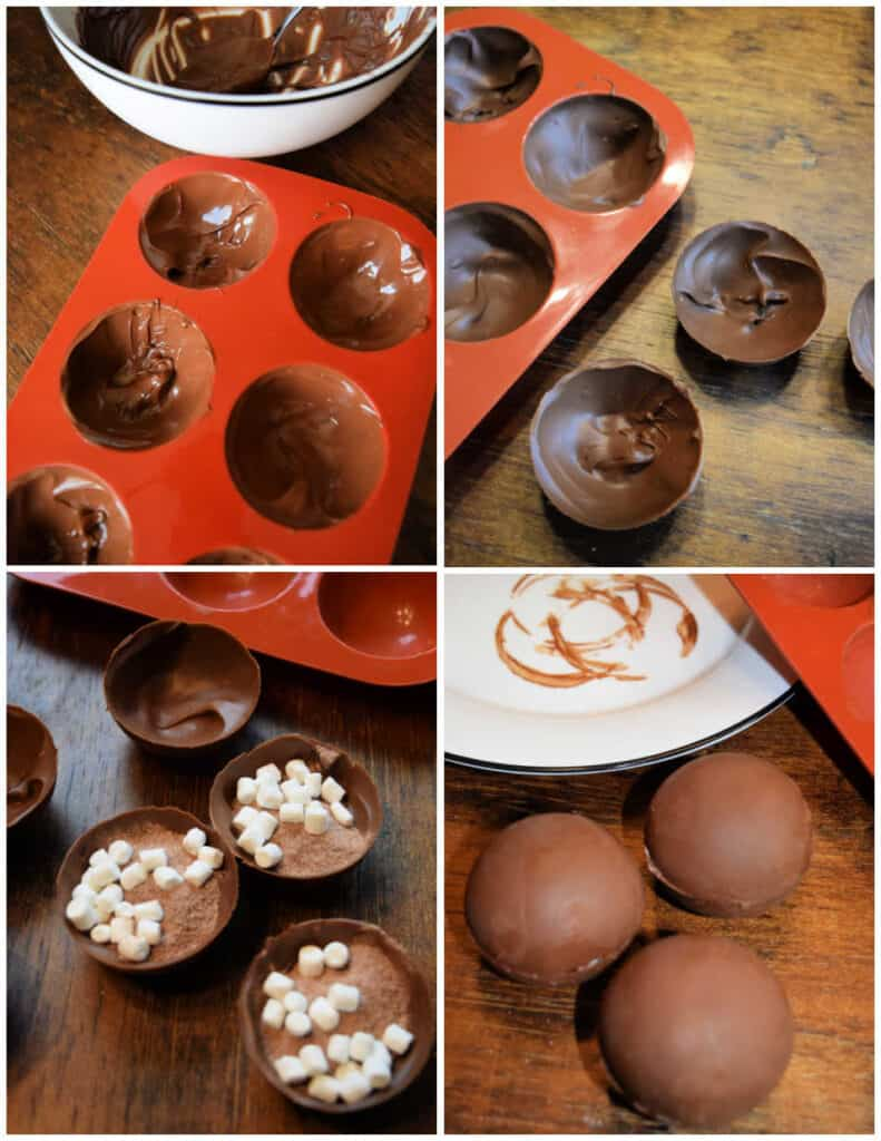 Pictures of the hot cocoa bomb making process. A mold full of chocolate, hot cocoa bombs in half with filling