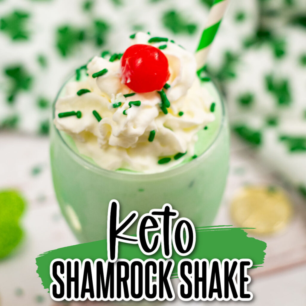 Keto shamrock shake with whipped toping and a cherry