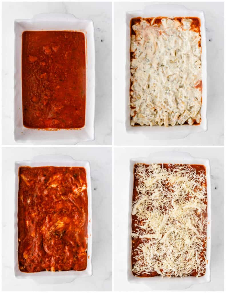 Four pictures that show sauce, cheese, and pasta being layered into a baking pan.