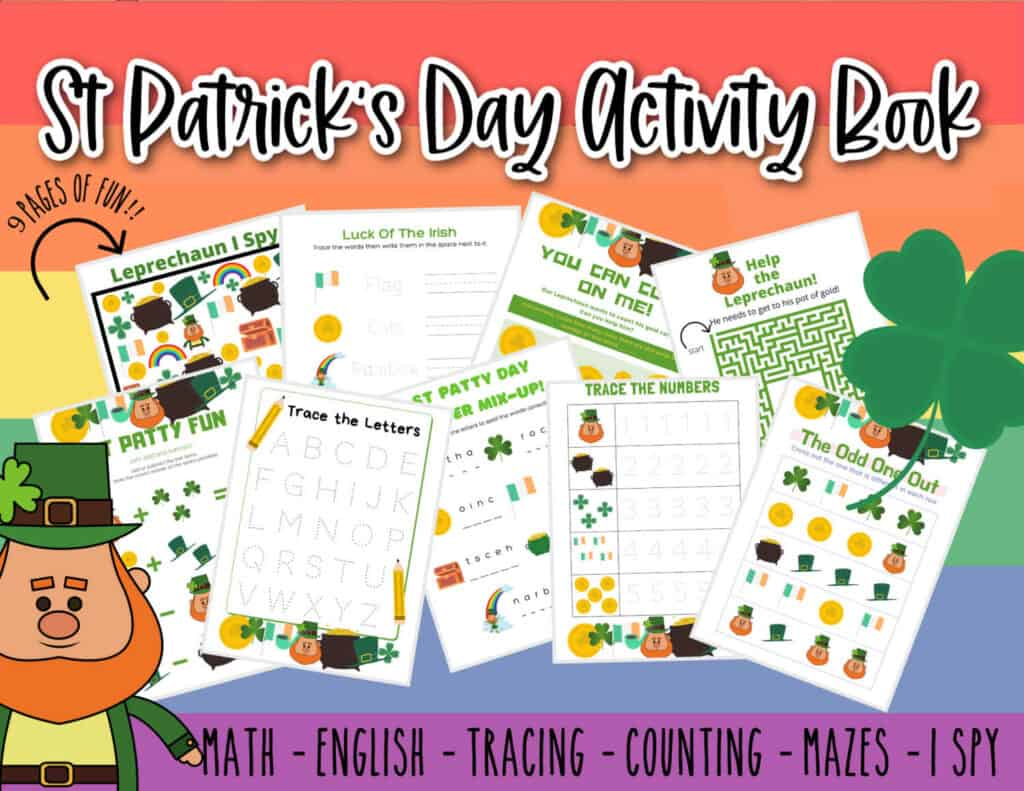 A graphic with St. Patrick's Day Activity pages