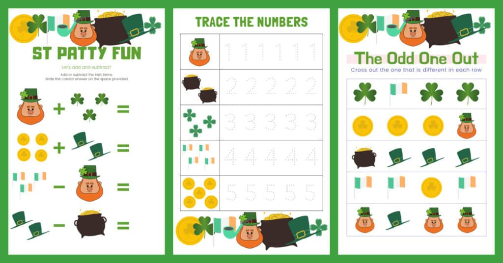 3 activity pages, St. Patty's Math, number tracing, odd one out