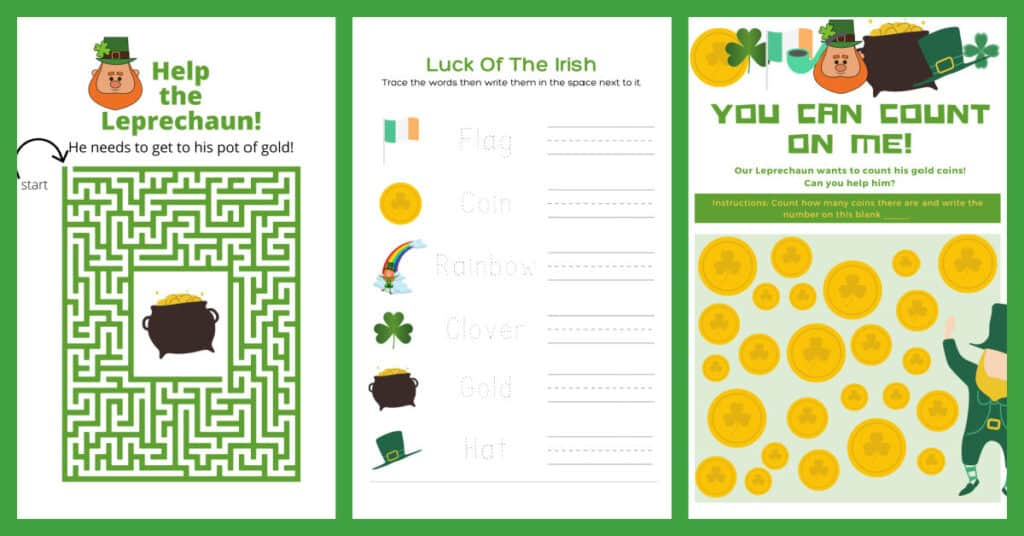 3 activity pages, a leprechaun themed maze, St Patty's word tracing, leprechaun coin counting