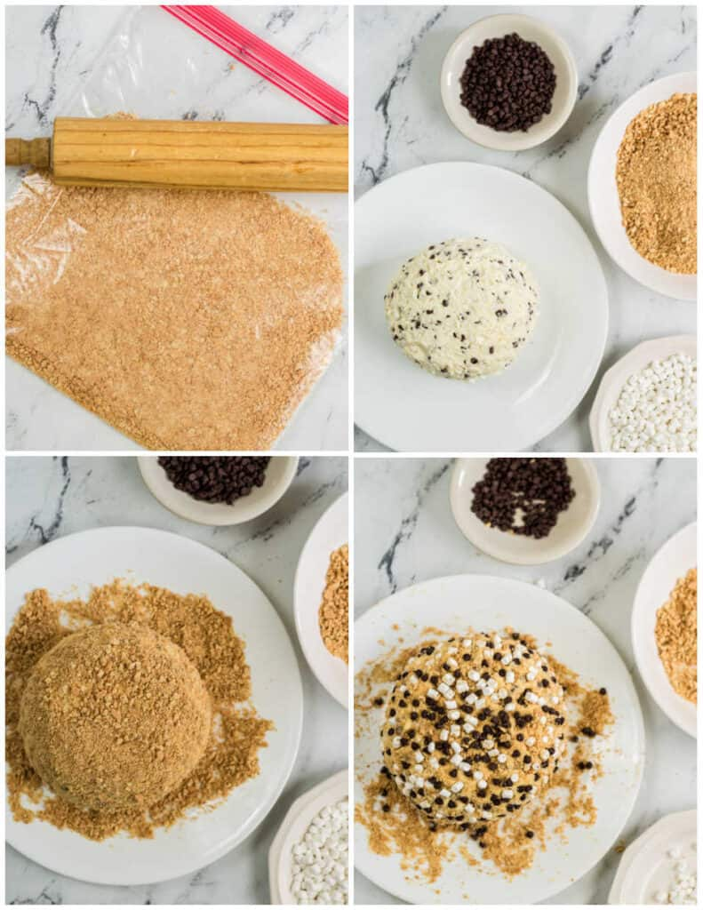 a collage of pictures showing the coating of a s'mores cheeseball. A plastic zip top bag with graham cracker crumbs, the cheeseball on a plate surrounded by smaller plates with mini chocolate chips, graham cracker crumbs and mini marshmallows. The cheeseball covered with graham cracker crumbs and the cheese ball with all the toppings added