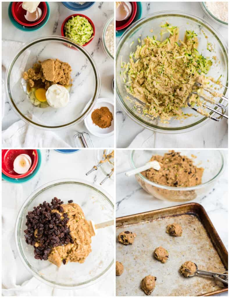 A collage with the steps for making zucchini cookies, the ingredients in a clear glass bowl, mixed together, raisins added, and a cookie sheet with cookie dough on it