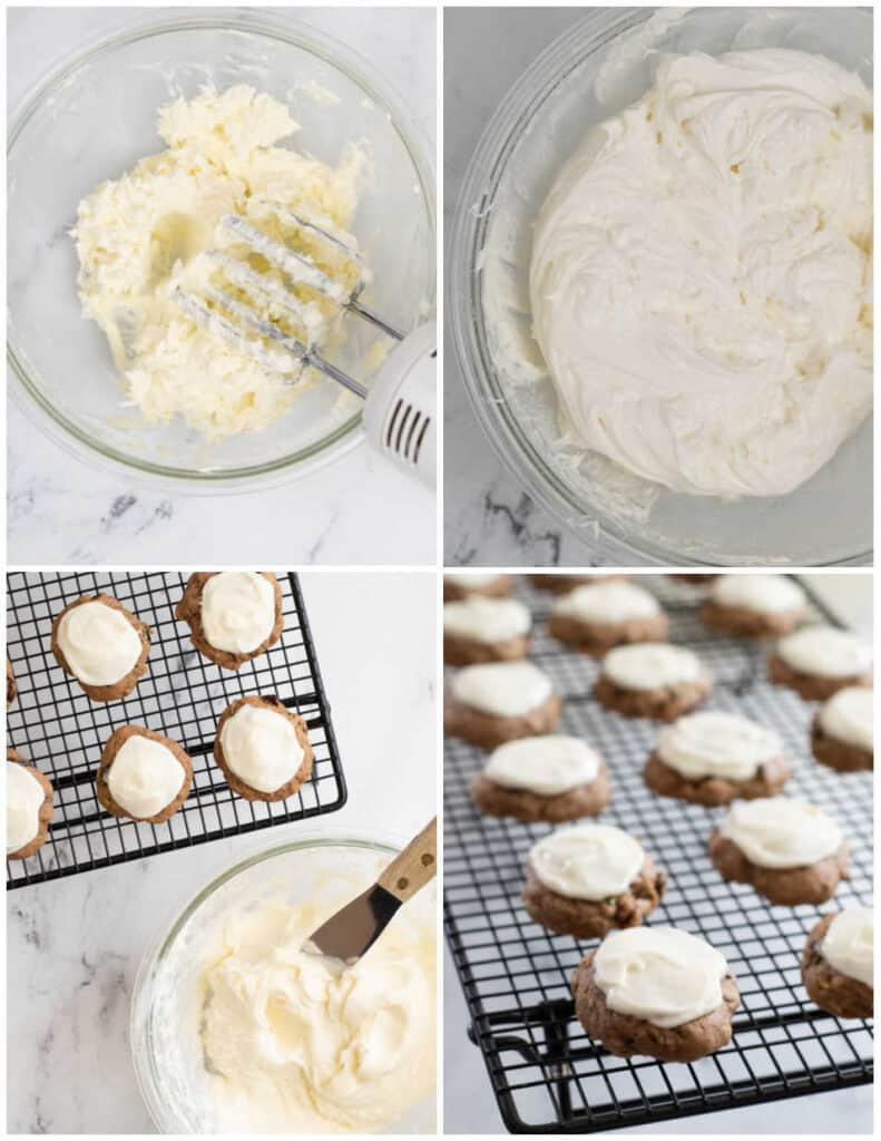 a collage of steps for making cream cheese icing. A clear bowl with an electric mixer in it, a bowl of finished frosting, a cooling rack with frosted cookies on it.