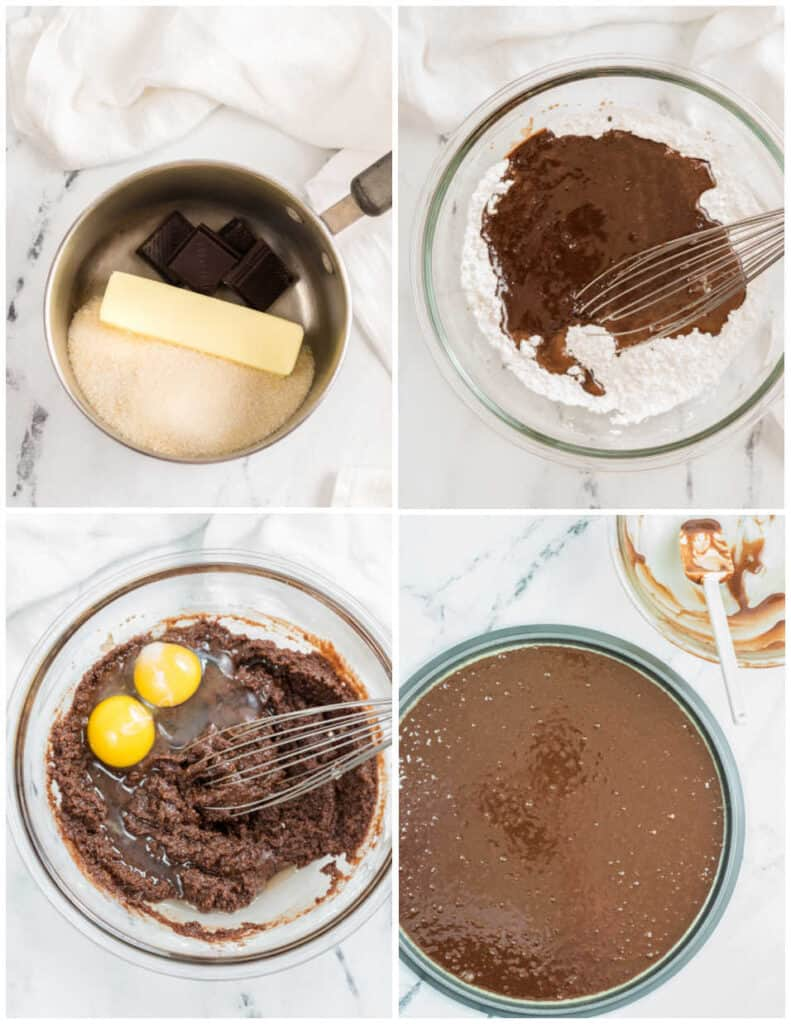 A collage showing the steps to make a brownie pizza crust