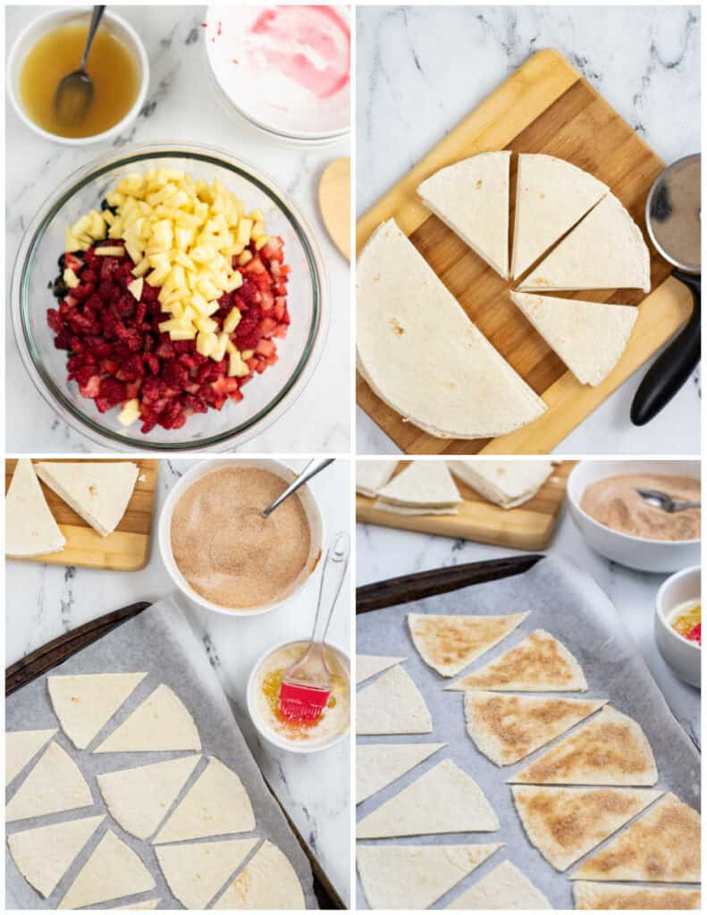 a collage of four pictures one is a clear bowl full of chopped fruit, one is a cutting board with flour tortillas that have been cut into wedges, the next shows the tortilla wedges on a baking sheet brushed with butter, and the last shows them sprinkled with cinnamon sugar