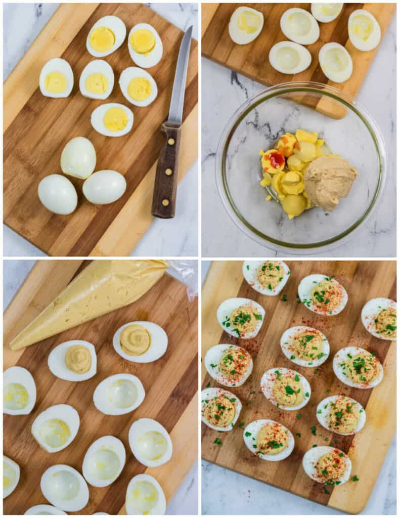 four pictures showing how to make hummus deviled eggs. The eggs being cut in half. The yolks and hummus in a glass bowl, the filling being piped into the egg whites and the final product.