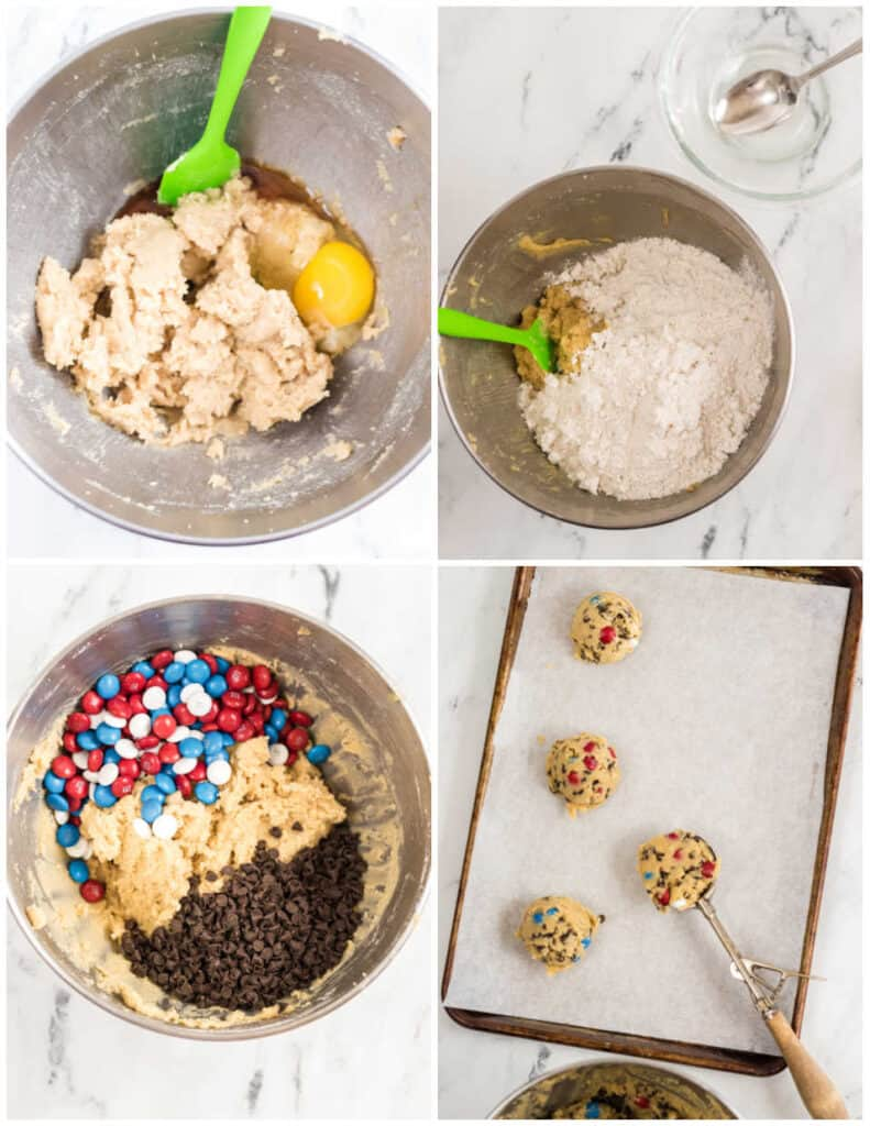 4 pictures showing the steps for making m&m cookies.
