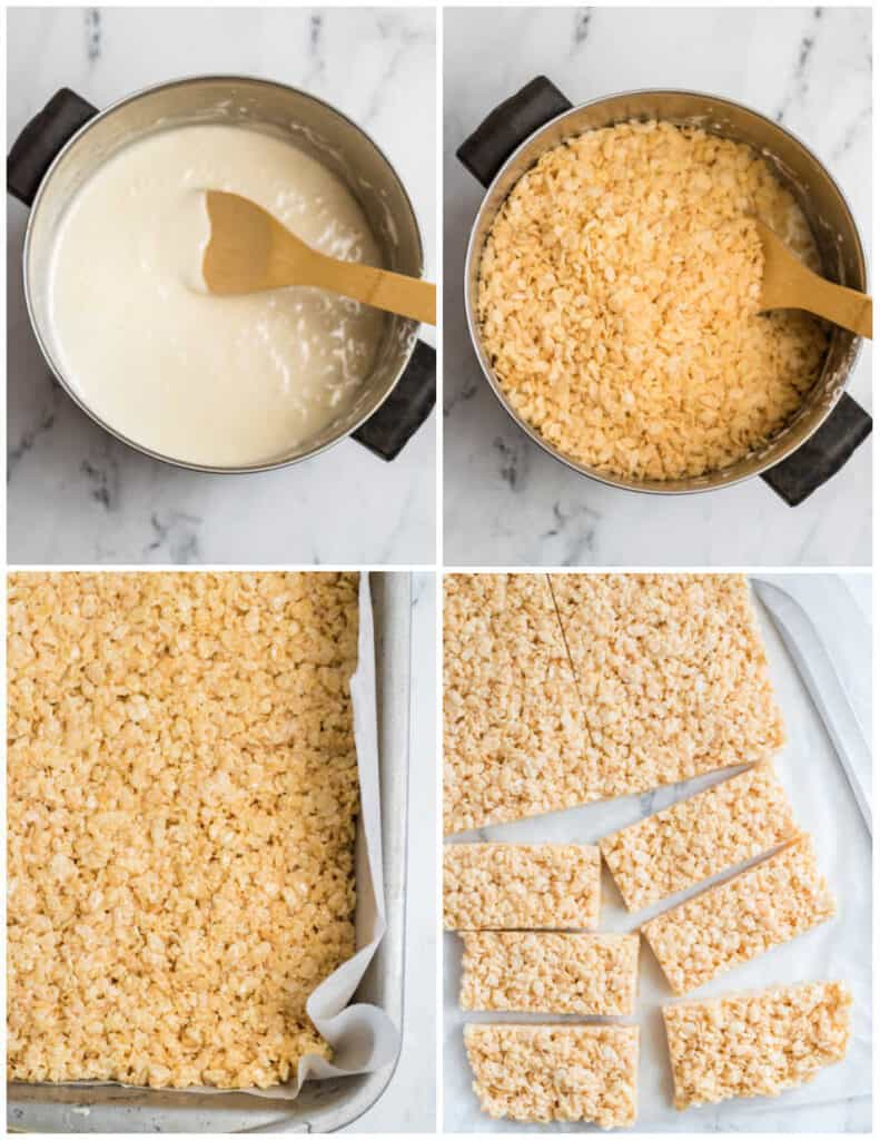 The steps for making rice krispies pops. A pan with melted marshmallows, rice krispies cereal added to the pan.  The cereal mixture pressed into a pan, and the treats cut up.