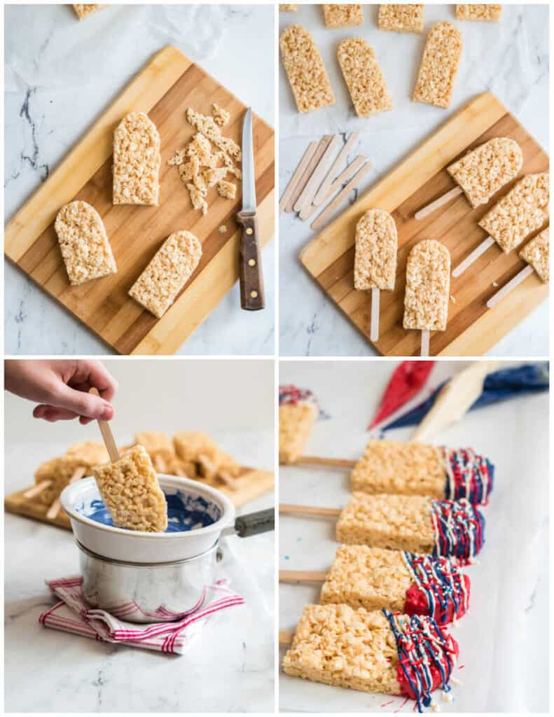 4 pictures showing how to make rice krispies treats popsicles. The first shows the treats being trimmed into shape, the second shows the popsicle sticks being added. The third shows a hand dipping the popsicle into melted chocolate. The 4th shows the dipped popsicles on wax paper.