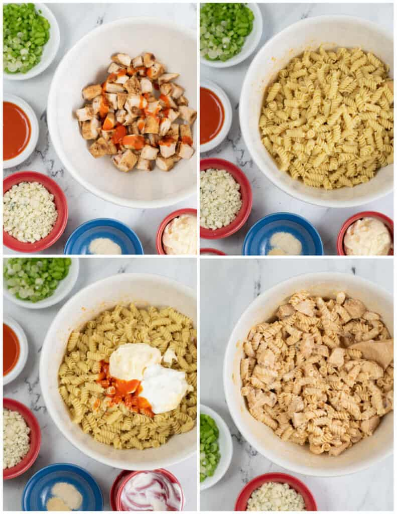 A collage of 4 pictures showing the steps for assembling a buffalo chicken pasta salad