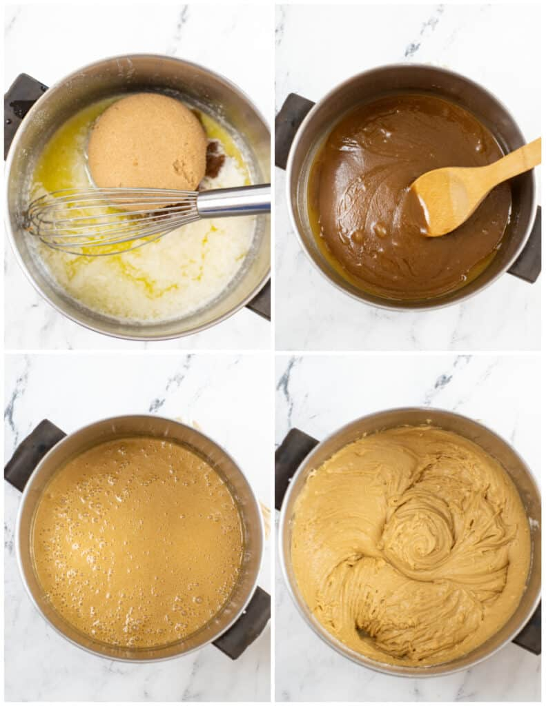 The steps for making nutella blondies. Butter melted in a pan, sugar added, eggs added and flour added.