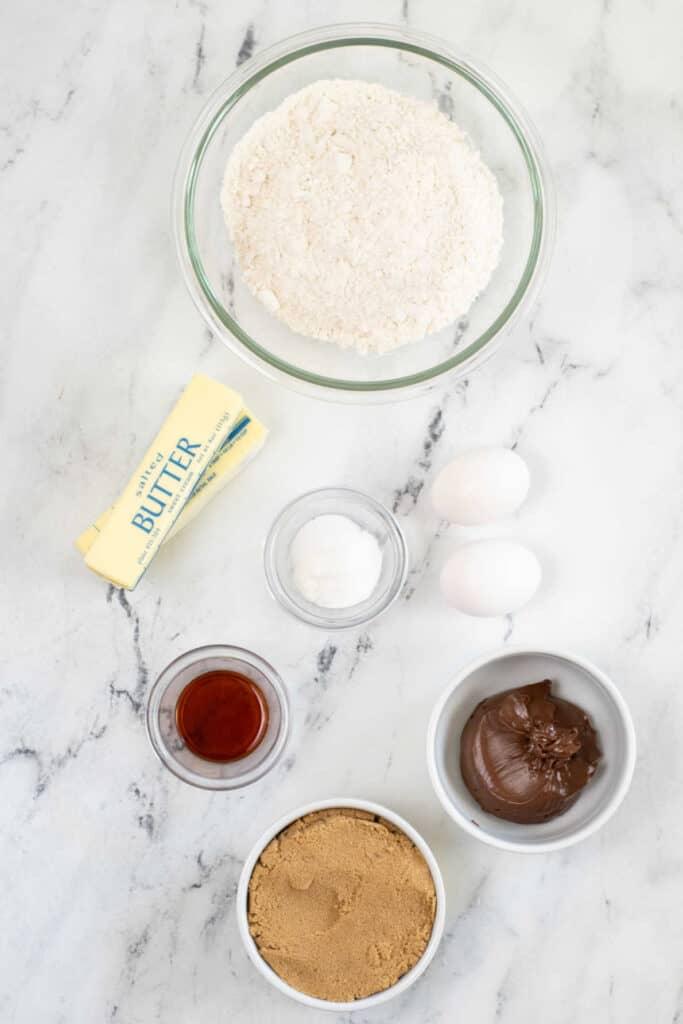 The ingredients for Nutella blondies.