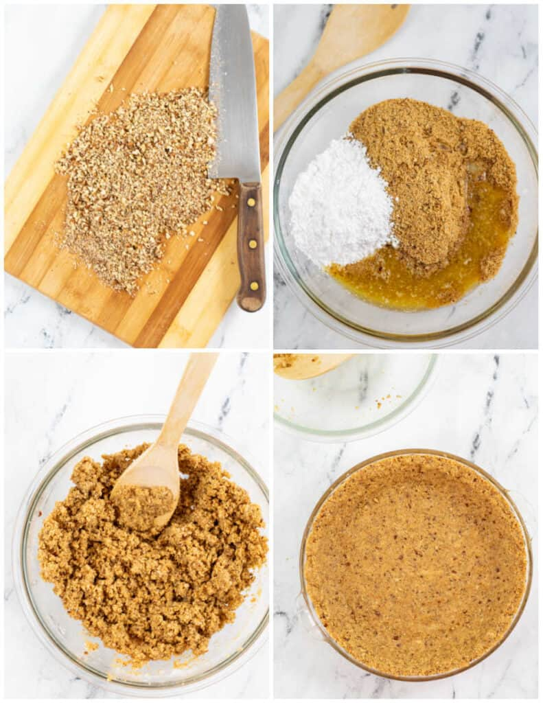A collage of steps for making a keto graham cracker crust.