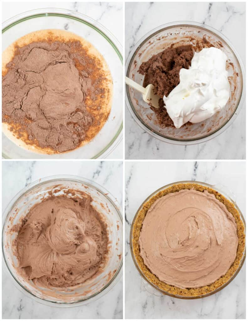 A collage of four pictures showing how to make sugar free chocolate pie filling.