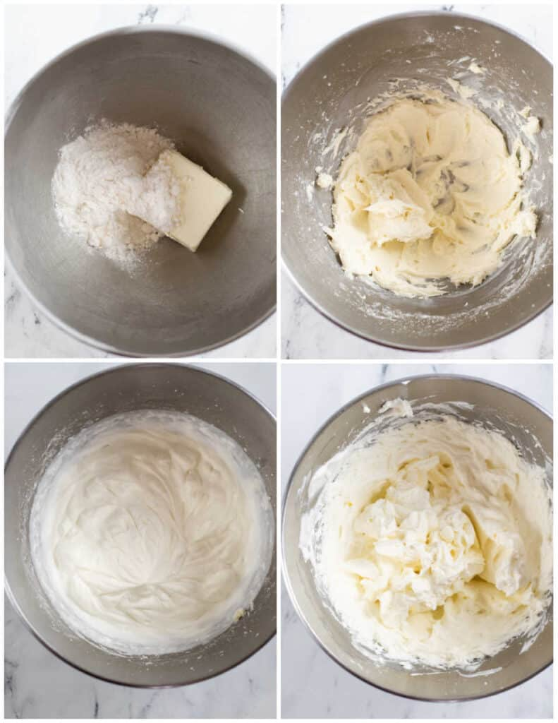 A collage of four pictures showing how to make sugar free stabilized whipped cream