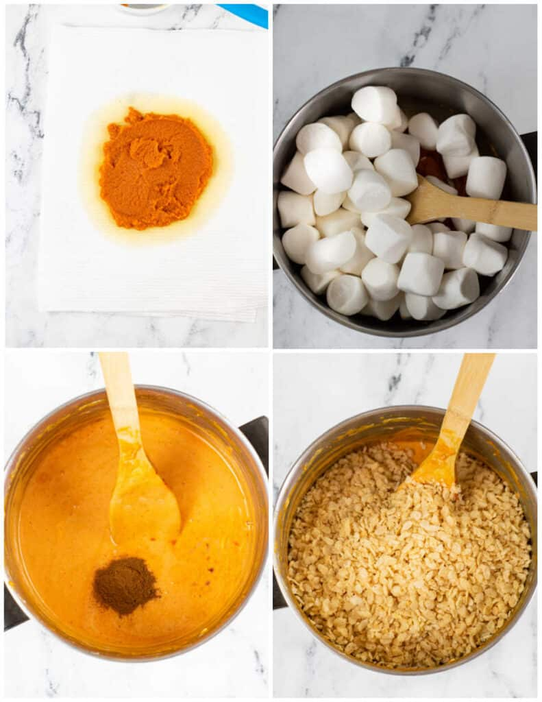 A collage of the steps for making pumpkin spice rice krispie treats.  Pumpkin puree on paper towels, a large pot with marshmallows in it, the same pot with melted marshmallows and pumpkin, and then a picture with rice krispies added to the pot.