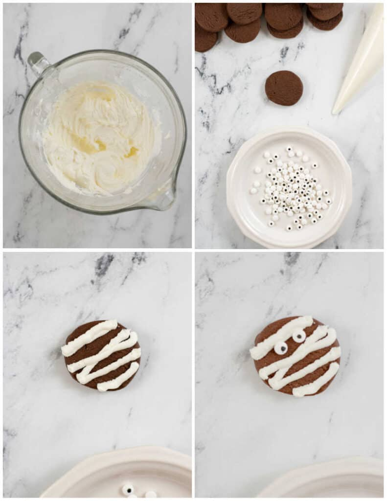 A collage of 4 pictures showing mummy cookies being decorated.