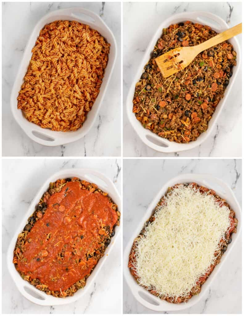 A collage of pizza casserole being assembled in a white casserole dish