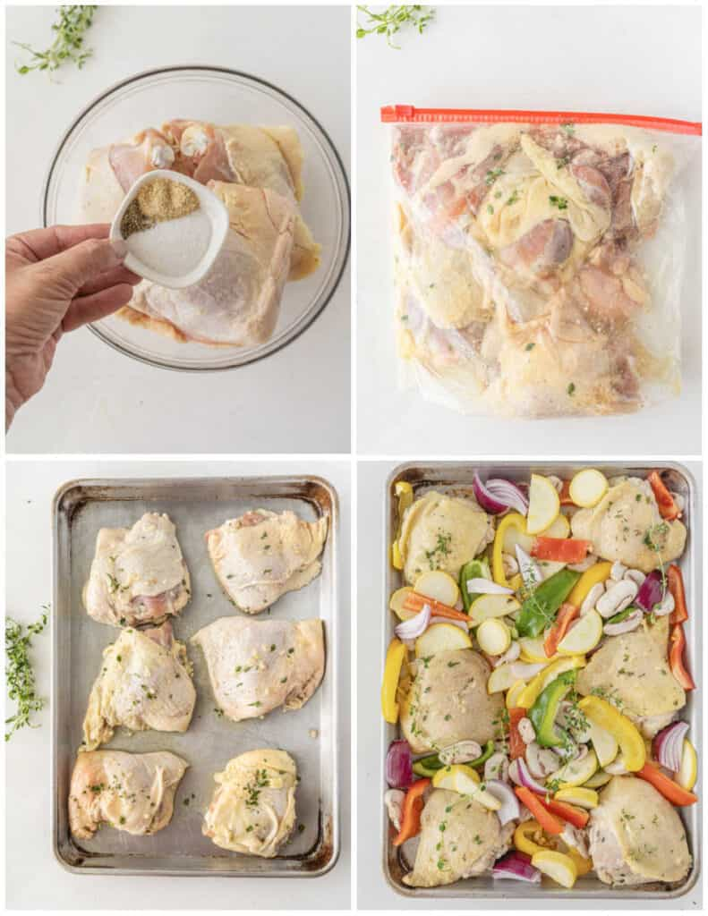A collage of 4 pictures showing the steps for making sheet pan chicken. In the first a hand is shown seasoning a bowl full of chicken. In the second chicken is in a zip top bag with marinade. In the third the chicken in on a baking sheet. In the fourth chopped vegetables have been added to the baking sheet.