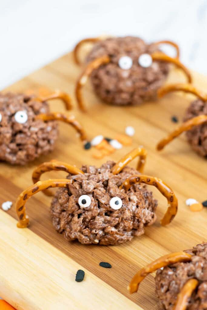 Spider treats on a wooden block