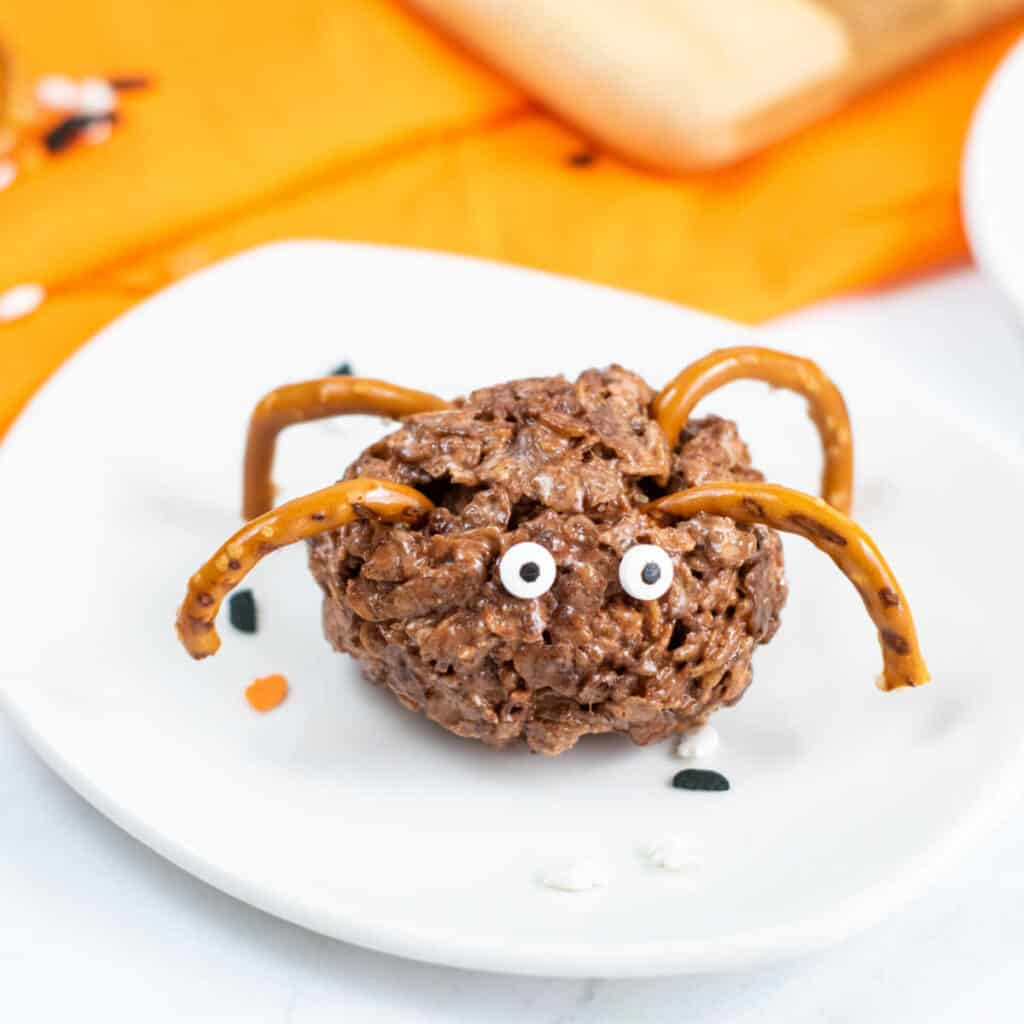 A spider treat on a white plate