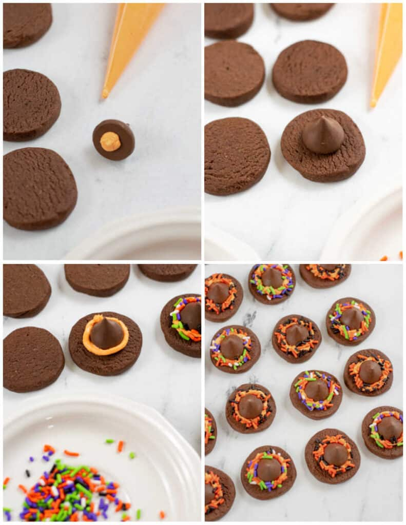"""4 pictures showing how to assemble the witch hat cookies. In the first a Hershey's kiss has a spot of frosting on the bottom. in the second the kiss has been sat on top of a chocolate cookie. In the third a """"belt"""" of frosting has been added and in the fourth sprinkles have been added."""
